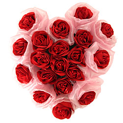 Dazzling Celebration with Heart Shaped 19 Everlasting Washable Red Roses