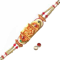 Fabulous Gift of Ganesha Design Rakhi with free Roli Tilak and Chawal for your Loving Brother