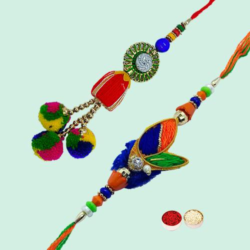 Attractive Bhaiya Bhabhi Rakhi Set with free Roli Tilak and Chawal for the Occasion of Rakhi