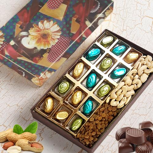 Scrumptious Assortment of Homemade Chocolates with Dry Fruits