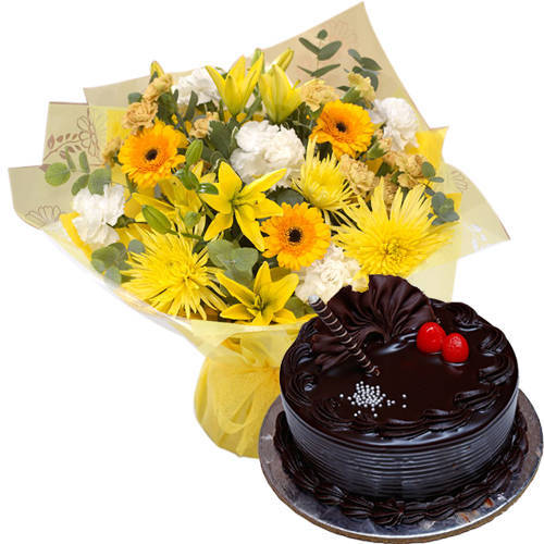 Combo of Bakery-Fresh Choco Truffle Cake & Mixed Flowers Bouquet