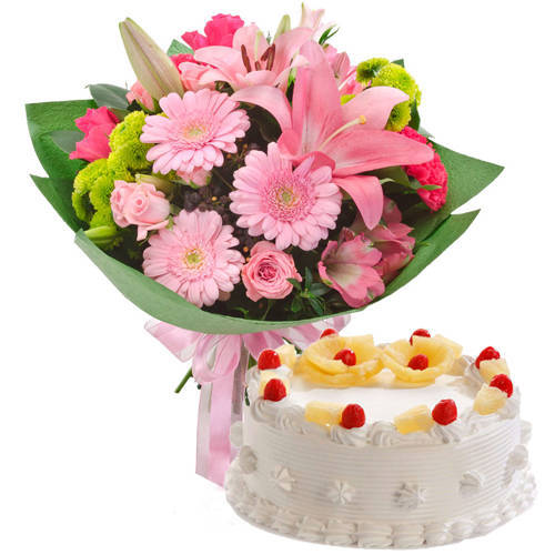 Delicate Mixed Flowers Bunch with Pineapple Cake