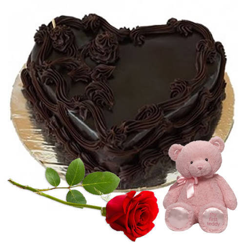 Yummy Heart-Shaped Choco Cake with Teddy N Rose