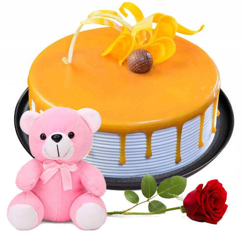 Satisfying Butter Scotch Cake with Single Rose N Teddy