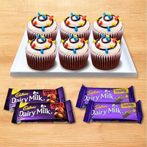 Delectable Cup Cakes N Cadbury Chocolates Gift Combo