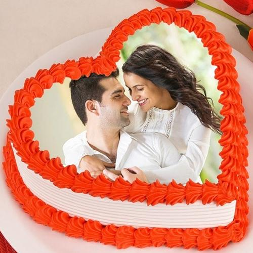Angelic Kiss Day Special Personalized Photo Cake in Heart Shape