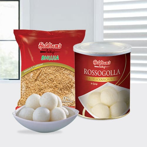 Special Gift of Haldirams Rasgulla and Bhujia