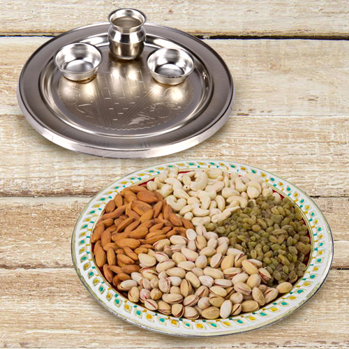Silver Plated Thali with Assorted Dry Fruits