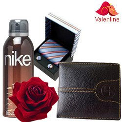 Superb Combo of Gents Accessories with 1 Golden Rose