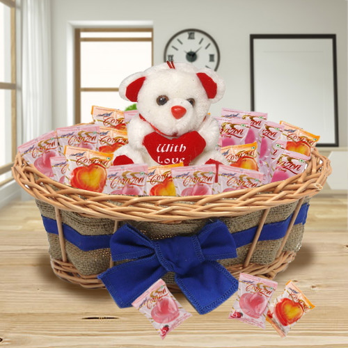 Exclusive Basket of Corazon Chocolates Pack N Teddy