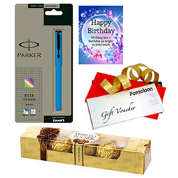 Magical Birthday Pack of Ferrero Rocher, Parker Pen, Gift Voucher   Card
