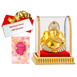 Celebration Pack of Vighnesh Idol, Anniversary Card and Mainland China Voucher