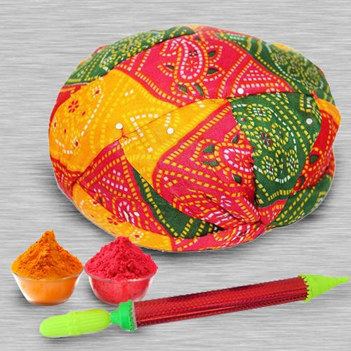 Eye-Catching Rajasthani Pagri with Pichkari N Free Gulal
