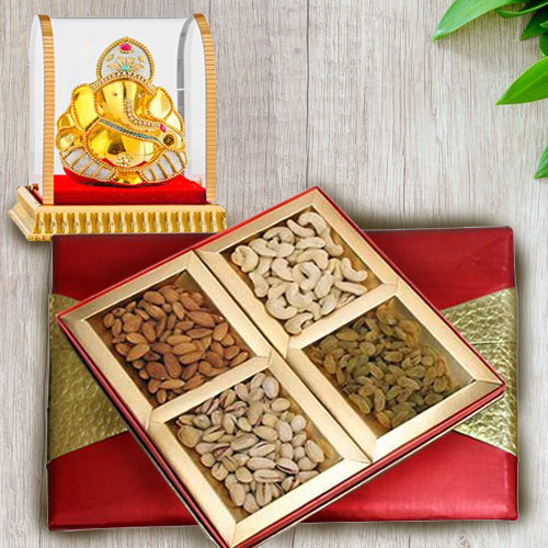 Amazing Vighnesh Ganesha Idol with Assorted Dry Fruits Box