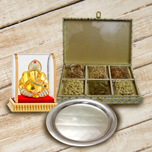 Decorated Silver Plated Thali with Assorted Dry Fruits and Ganesh Idol