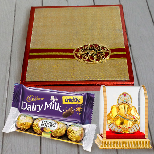 Assorted Dry Fruits N Chocolates Pack with Vighnesh Ganesh Idol