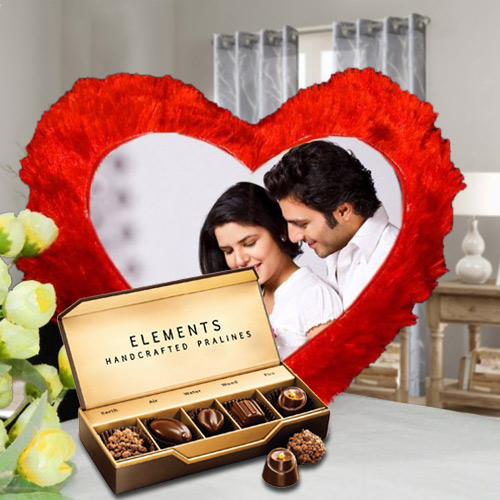 ITC Chocolates with Heart Shape Personalized Cushion
