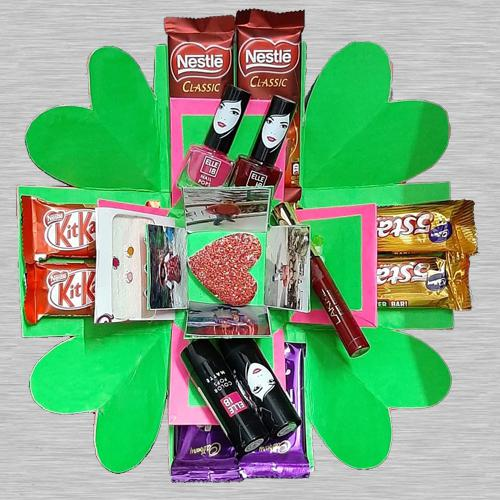 3 Layer Personalized Photo, Cosmetics n Chocolates Explosion Box