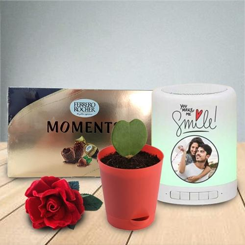Admirable Gift of Personalized Photo Bluetooth Speaker with Chocolate N Heart Plant