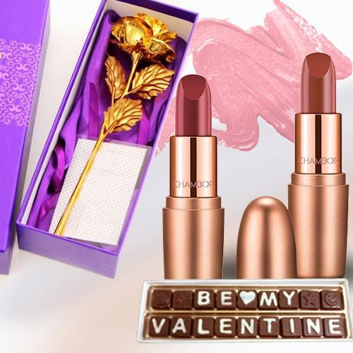Fabulous V-day Gift of Lipstick Pair with Rose N Chocolate
