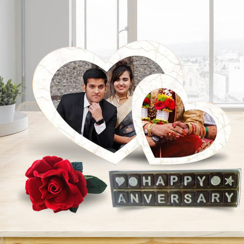 Amazing Personalized Twin Heart Photo Frame with Handmade Chocolates N Rose