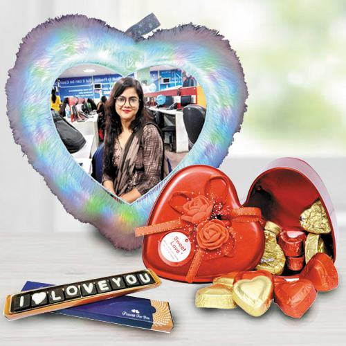 Remarkable Personalized LED Heart Fur Cushion n Chocolates Combo