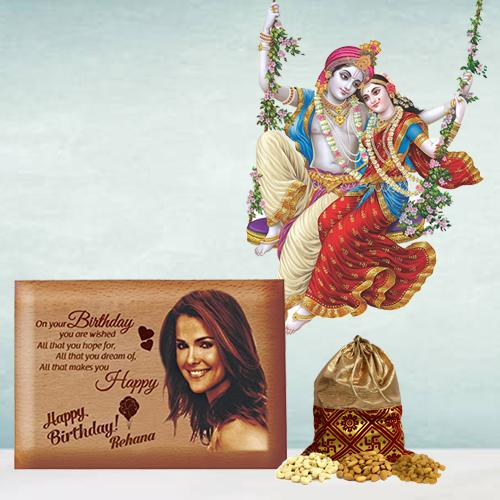 Exclusive Personalized Love Frame, Radha Krishna Sticker n Dry Fruits