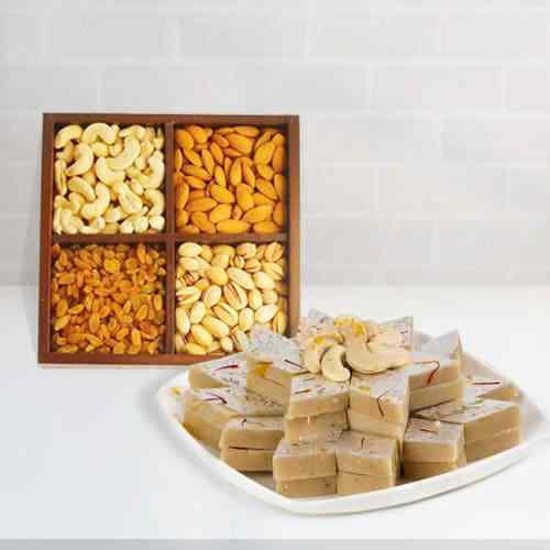 Hasldirams Kaju Katli with Mixed Dry Fruits