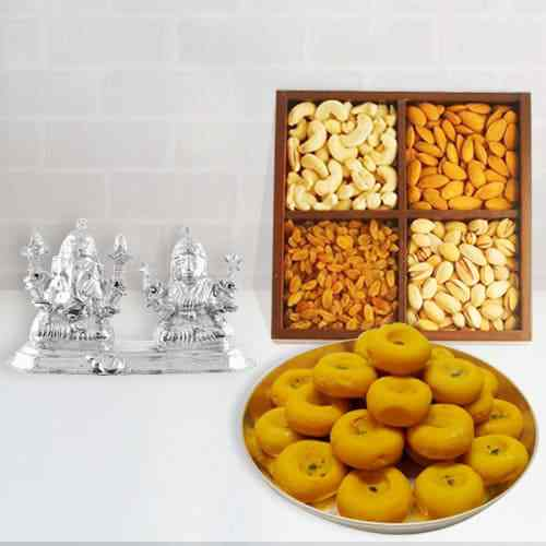 Kesaria Pedas with Dry Fruits, Ganesh Lakshmi Idol
