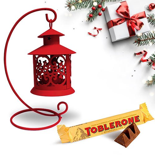 Bewitching Tea Light Decor N Toblerone Christmas Combo