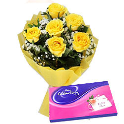 Yellow Rose with Cadbury Celebrations Combo
