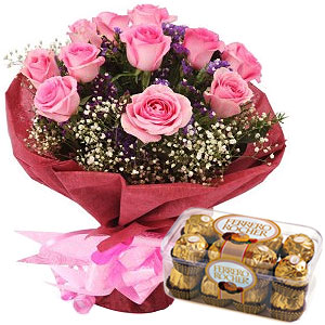 Pink Roses with Ferrero Rocher Choco Combo