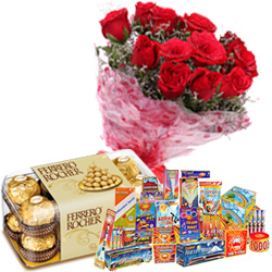 Remarkable Hamper of 16 Pcs Ferrero Rocher Chocolates, 10 Pcs Red Rose Bunch and Crackers