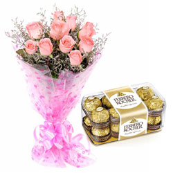 Combo of Pink Roses N Ferrero Rocher Chocolates