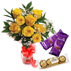 Combo of Dairy Milk Silk with Ferrero Rocher N Yellow Rose Bouquet