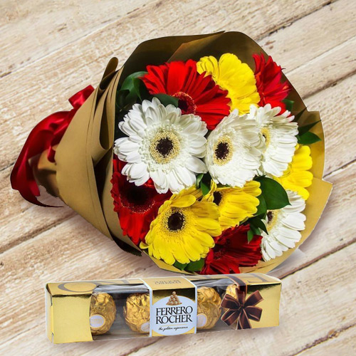 Fascinating Gerberas Bouquet with Ferrero Rocher Chocolate