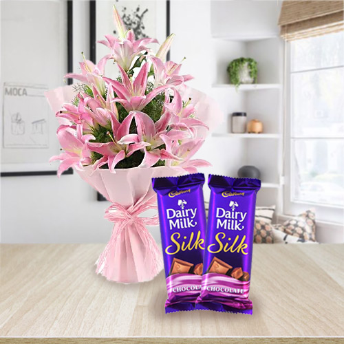 Pretty Oriental Pink Lilies with Dairy Milk Silk