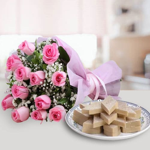 Anniversary Wishes Pink Roses Bunch with Bite-Size Kaju Katli