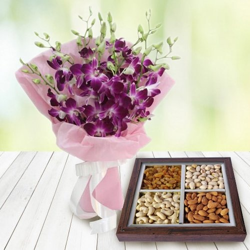 Orchids Bouquet and 500 gms Dry Fruits