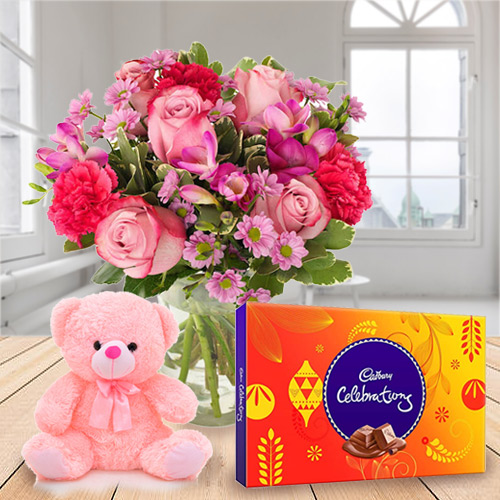 Pretty Mixed Flowers with Teddy and Cadbury Celebrations