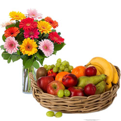 Bunch of Mixed Gerberas in a Vase with Fresh Fruits Basket