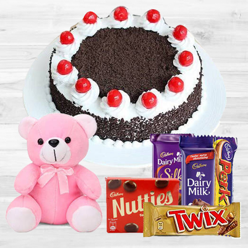 Black Forest Cake with Teddy N Mixed Cadbury Chocolates