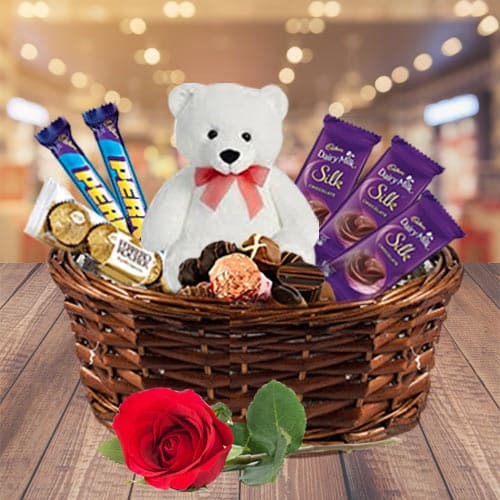 Juicy Gift Basket of Cadbury Chocolates with Teddy N Rose