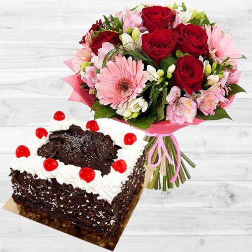 Assorted Florals Bunch with Black Forest Cake