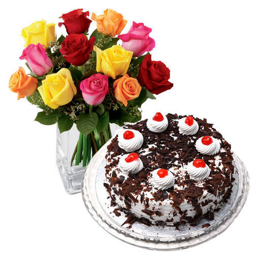 Spectacular 24 Mixed Roses with 1 Kg Black Forest Cake from Taj or 5 Star Bakery