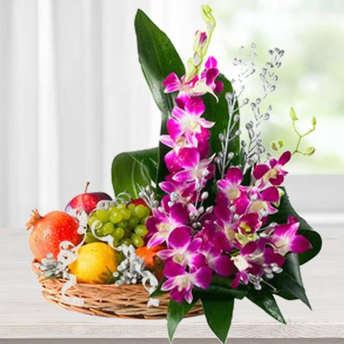 Florals with Mixed Fresh Fruits Basket