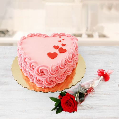 Tasty Heart Shaped Strawberry Cake n Red Rose