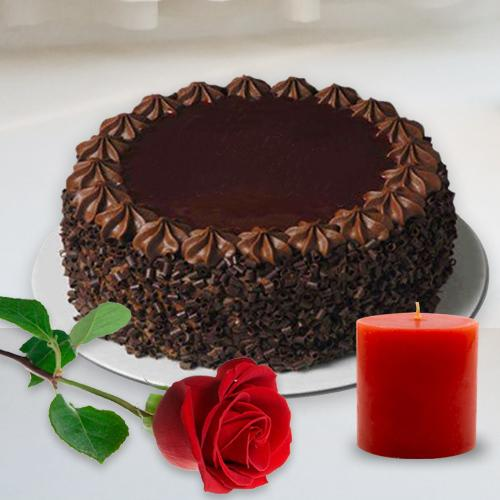 Delectable Chocolate Cake with Aroma Candles N Single Rose