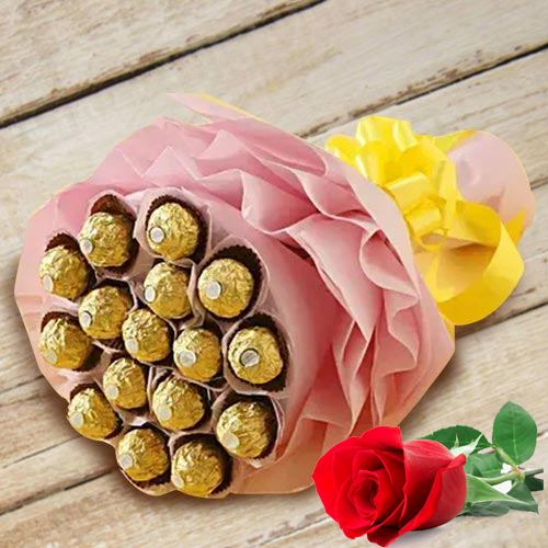 Marvelous Bouquet of Ferrero Rocher Chocolates with Single Red Rose