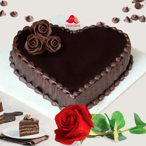 Love Shape Chocolate Cake N 1  Red  Rose
